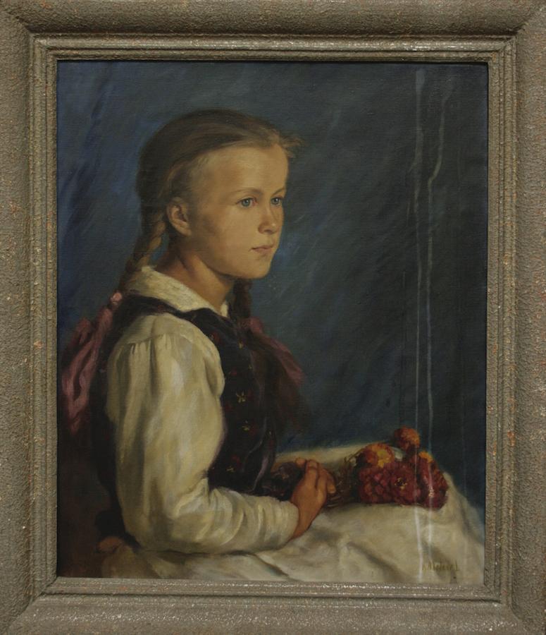 Meisje met vlechten. Lajos Rezes-Molnar (1896-1989)